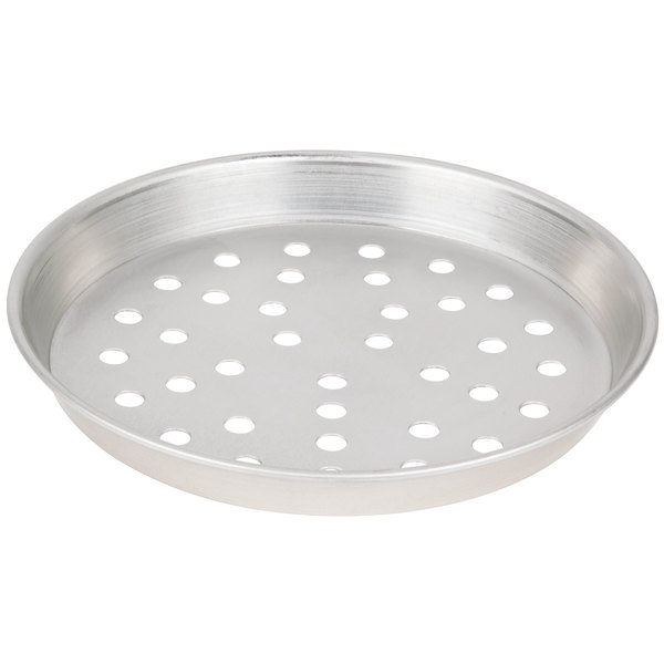 """American Metalcraft PTDEP9 9"""" x 1"""" Perforated Tin-Plated Steel Tapered / Nesting Deep Dish Pizza Pan"""
