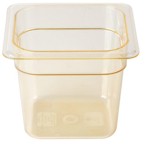 Cambro 66HP150 H-Pan 1/6 Size Amber High Heat Food Pan - 6 inch Deep