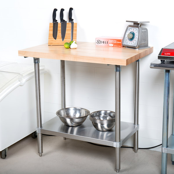 """Advance Tabco H2S-243 Wood Top Work Table with Stainless Steel Base and Undershelf - 24"""" x 36"""""""