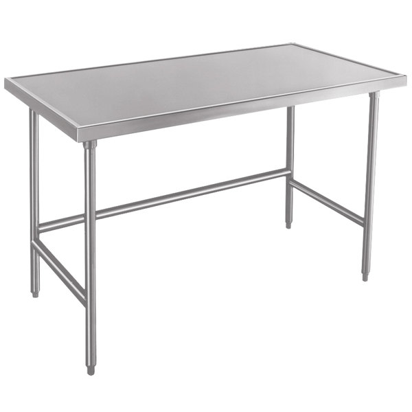 """Advance Tabco Spec Line TVLG-487 48"""" x 84"""" 14 Gauge Open Base Stainless Steel Commercial Work Table"""