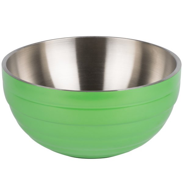 Vollrath 4659135 Double Wall Round Beehive 3.4 Qt. Serving Bowl - Green Apple