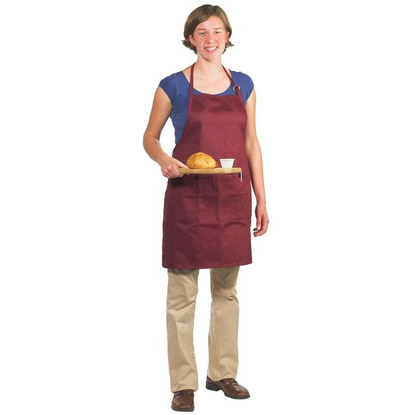 "Chef Revival 601BAO-3-BG Customizable Professional Gourmet Full-Length Burgundy Bib Apron - 30""L x 28""W"