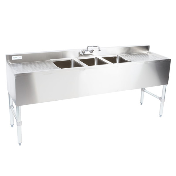 Regency 3 Bowl Underbar Sink with Faucet and Two Large Drainboards - 72\