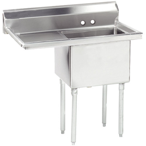 Left Drainboard Advance Tabco FE-1-1824-24 Stainless Steel 1 Compartment Commercial Sink with 1 Drainboard - 44 1/2""