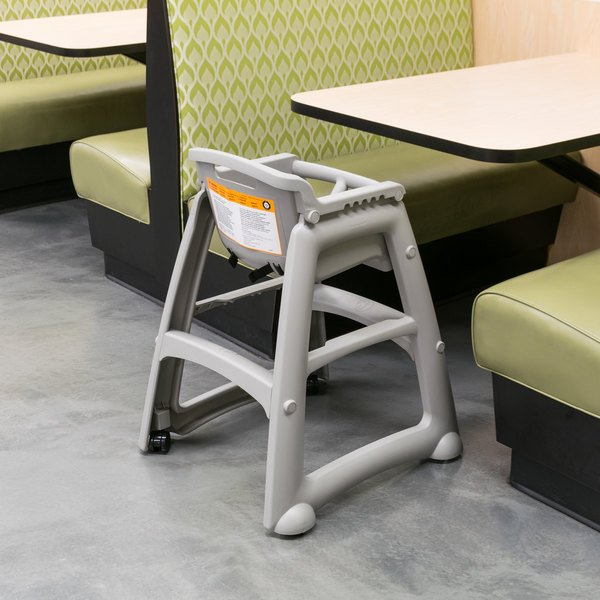 Rubbermaid FG780508PLAT Platinum Sturdy Chair Restaurant High Chair With  Wheels   Assembled