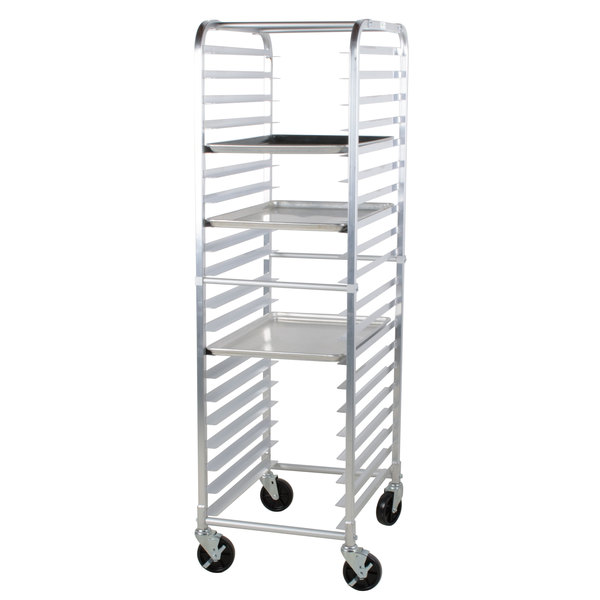 a 20 pan end load sheet pan rack from regency is designed to hold and transport a variety of your most popular baked goods or meats this rack is durable
