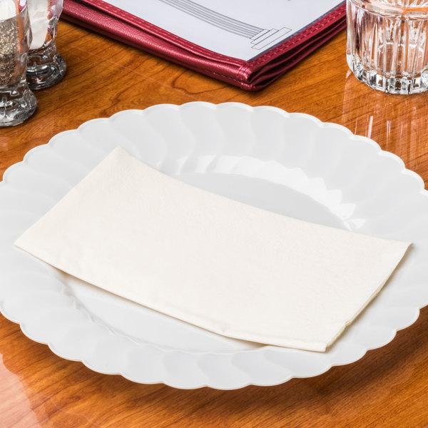 "Ecru / Ivory Paper Dinner Napkins, 2-Ply, 15"" x 17"" - Hoffmaster 180517 - 125/Pack"