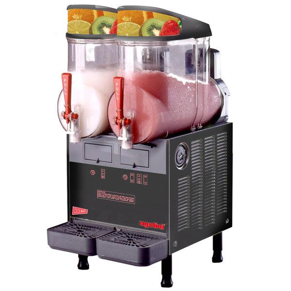 Cecilware FrigoGranita MT2ULAFBL Black Double 2.5 Gallon Liquid Autofill Slush Machine - 120V