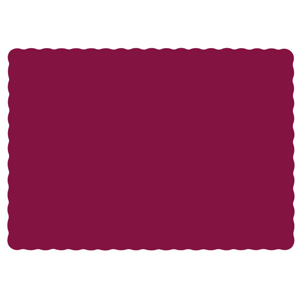 """Hoffmaster 310524 10"""" x 14"""" Burgundy Colored Paper Placemat with Scalloped Edge - 1000/Case"""