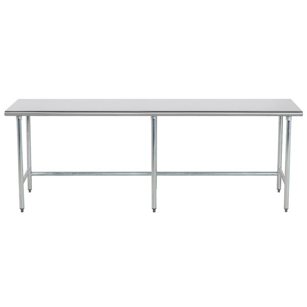 """Advance Tabco TGLG-248 24"""" x 96"""" 14 Gauge Open Base Stainless Steel Commercial Work Table"""