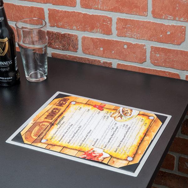 "8 1/2"" x 11"" Menu Solutions ALSIN811-PIX6 Alumitique Single Panel Brushed Aluminum Menu Board with Picture Corners"