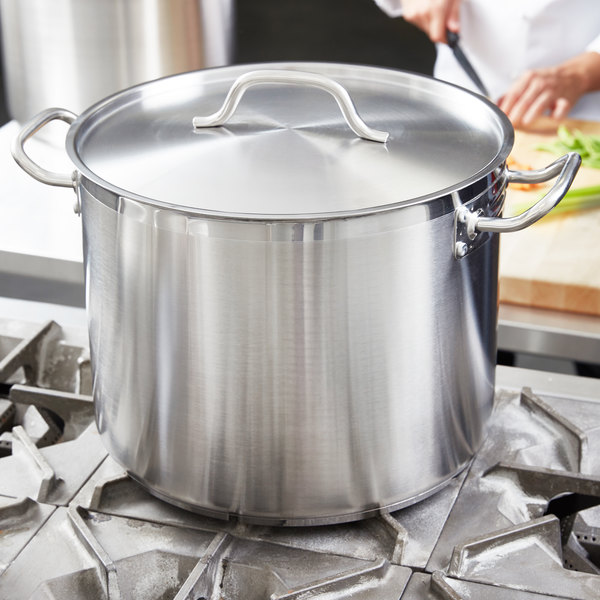 24 Qt. Heavy-Duty Stainless Steel Stock Pot with Cover