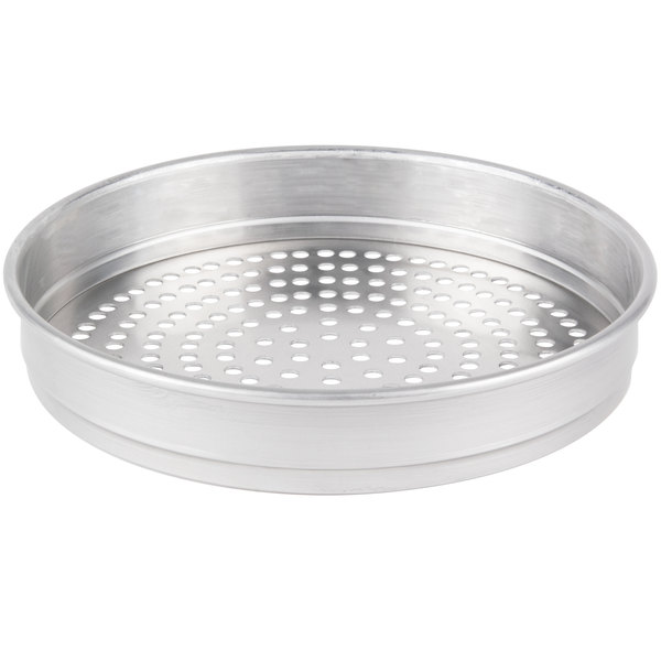 "American Metalcraft SPHA5014 14"" x 2"" Super Perforated Heavy Weight Aluminum Straight Sided Pizza Pan"