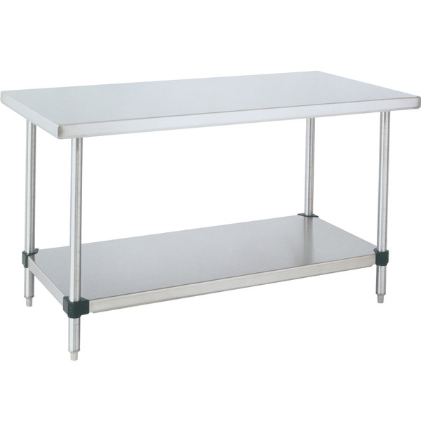 "14 Gauge Metro WT309FS 30"" x 96"" HD Super Stainless Steel Work Table with Stainless Steel Undershelf"