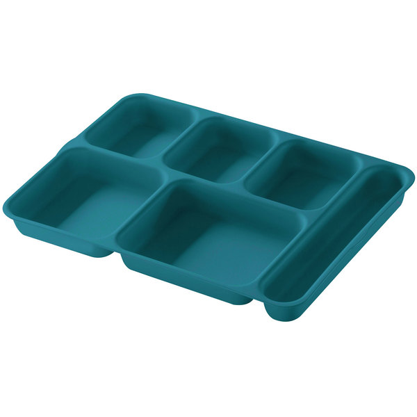 Cambro 10146DCP414 Teal 6 Compartment Serving Tray - 24/Case