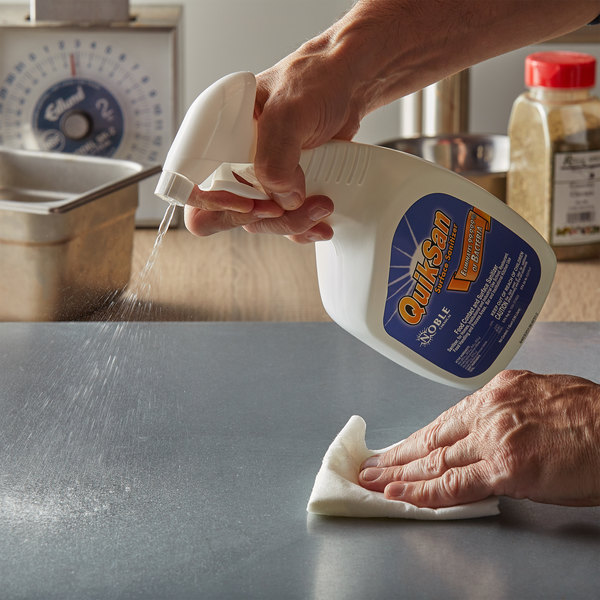 Noble Chemical 1 Qt. / 32 oz. QuikSan Food Contact and Surface Sanitizer Main Image 2