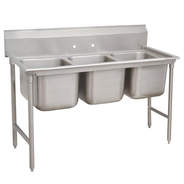 """Advance Tabco 9-23-60 Super Saver Three Compartment Pot Sink - 74"""""""