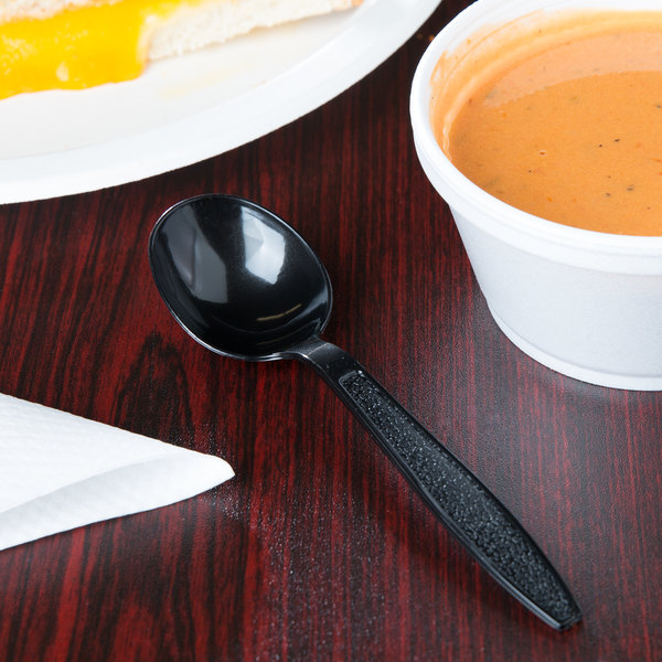 Visions Black Heavy Weight Plastic Soup Spoon - 1000/Case