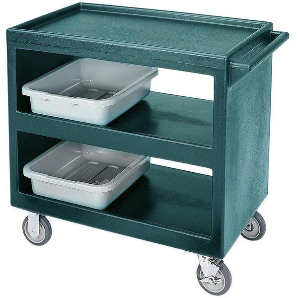 """Cambro BC2354S Granite Green Three Shelf Service Cart - 37 1/4"""" x 21 1/2"""" x 34 5/4"""""""