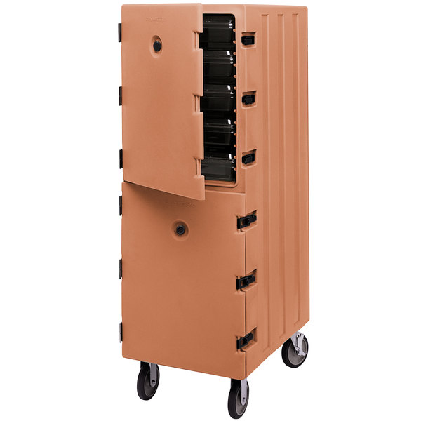 Cambro 1826DBC157 Camcart® Coffee Beige Double Compartment Food Storage Box Carrier Main Image 1