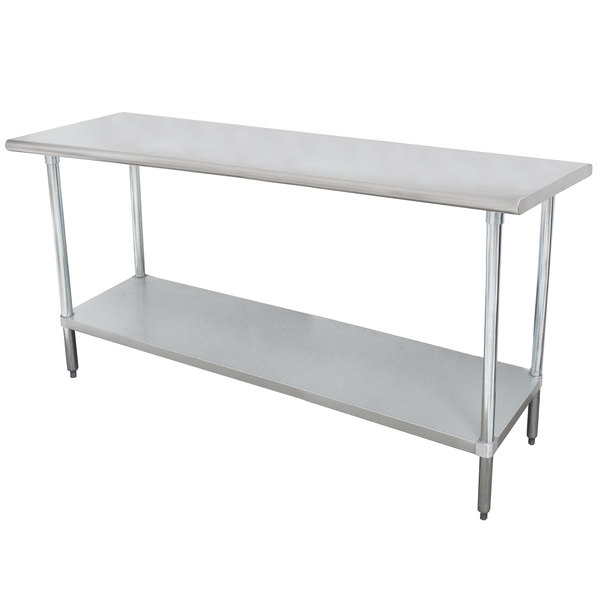 """Advance Tabco SLAG-308-X 30"""" x 96"""" 16 Gauge Stainless Steel Work Table with Stainless Steel Undershelf"""