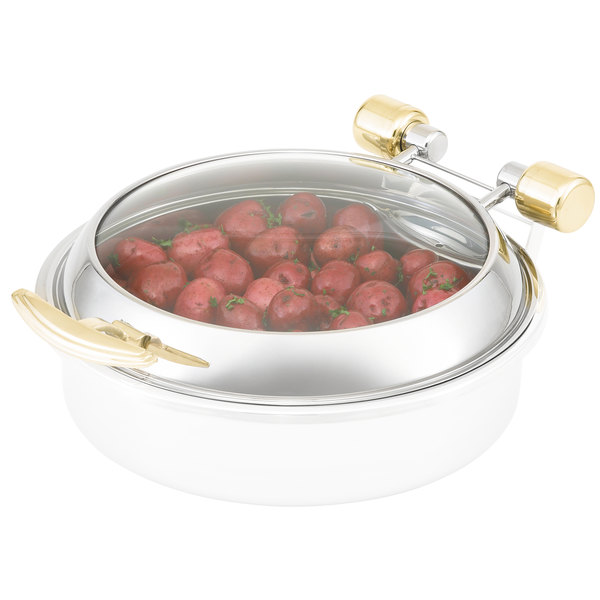 Vollrath 46126 Round Intrigue Induction Chafer Glass Lid with Brass Trim