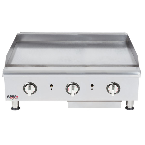 "APW Wyott HTG-2436 Natural Gas 36"" Heavy Duty Countertop Griddle with Thermostatic Controls - 96,000 BTU"