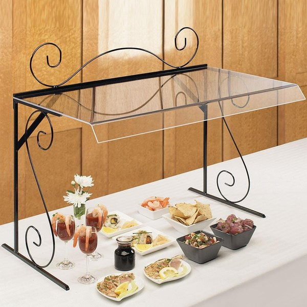 """Cal-Mil 768 30"""" Aqua Portable Acrylic Sneeze Guard with Black Iron Wire Frame"""