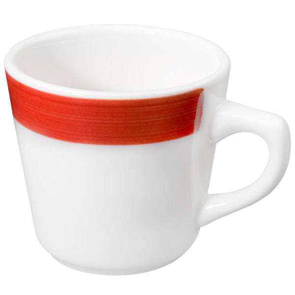 CAC R-1-R Rainbow 7 5 oz  Red Rolled Edge Stoneware Coffee Cup - 36/Case