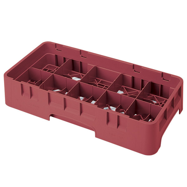 """Cambro 10HS318416 Cranberry Camrack 10 Compartment 3 5/8"""" Half Size Glass Rack Main Image 1"""