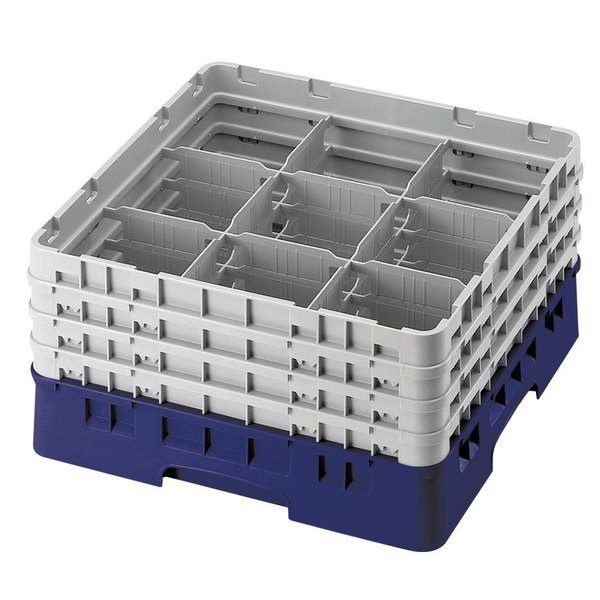 "Cambro 9S958186 Navy Blue Camrack Customizable 9 Compartment 10 1/8"" Glass Rack Main Image 1"