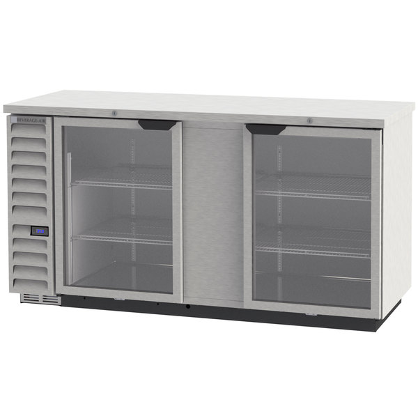 "Beverage-Air BB68HC-1-G-S 68"" Stainless Steel Glass Door Back Bar Refrigerator"