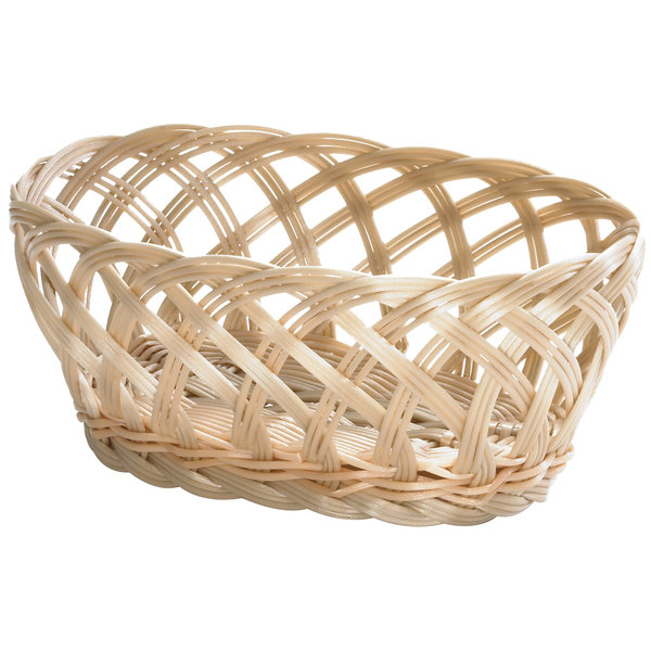 "Tablecraft 1136W 9 1/4"" x 7"" x 3 1/4"" Beige Natural Open Weave Oval Rattan Basket - 12/Pack Main Image 1"