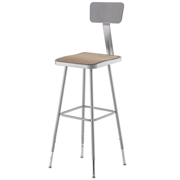 "National Public Seating 6330HB 31"" - 39"" Gray Adjustable Hardboard Square Lab Stool with Adjustable Back"