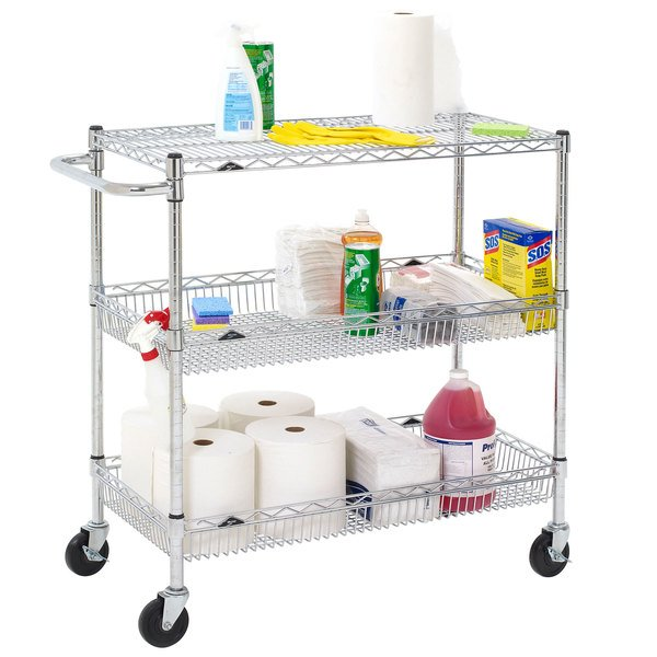 "Metro Super Erecta BASCART-SR Chrome Three Shelf Utility Basket Cart with Casters - 18"" x 36"" x 40"" Main Image 2"
