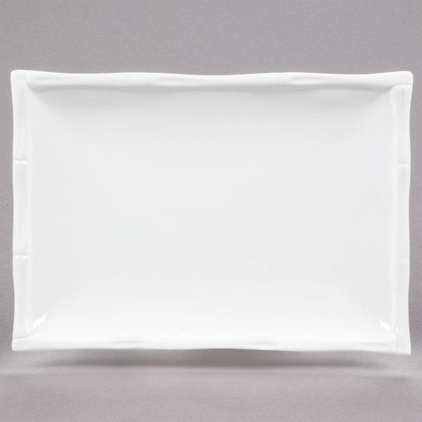 "CAC BAP-34 Bamboo Pattern 7"" x 5"" Bright White Rectangular Porcelain Platter - 24/Case"