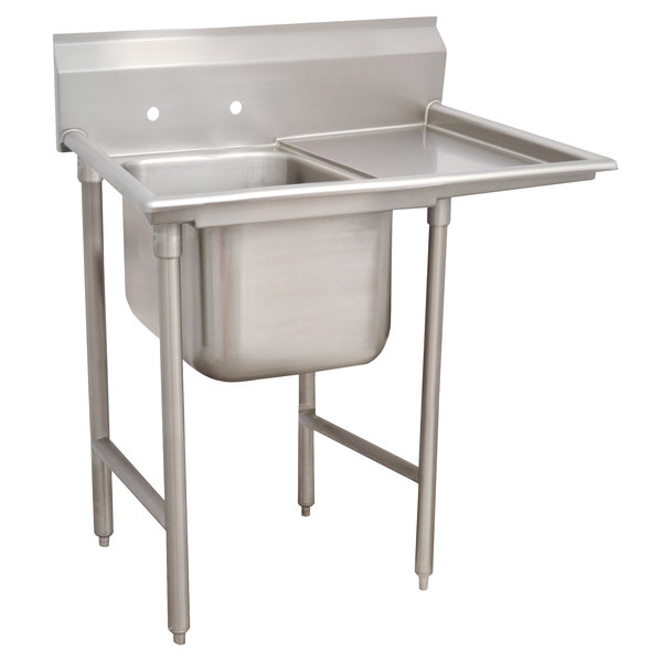 Right Drainboard Advance Tabco 93-1-24-24 Regaline One Compartment Stainless Steel Sink with One Drainboard - 46""