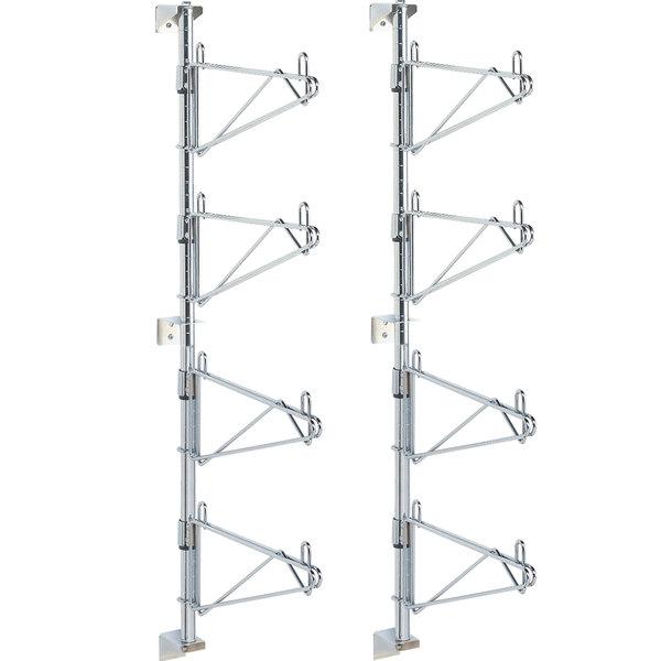 "Metro SW26C Super Erecta Chrome Four Level Post-Type Wall Mount End Unit for 14"" Deep Shelf - 2/Pack Main Image 1"
