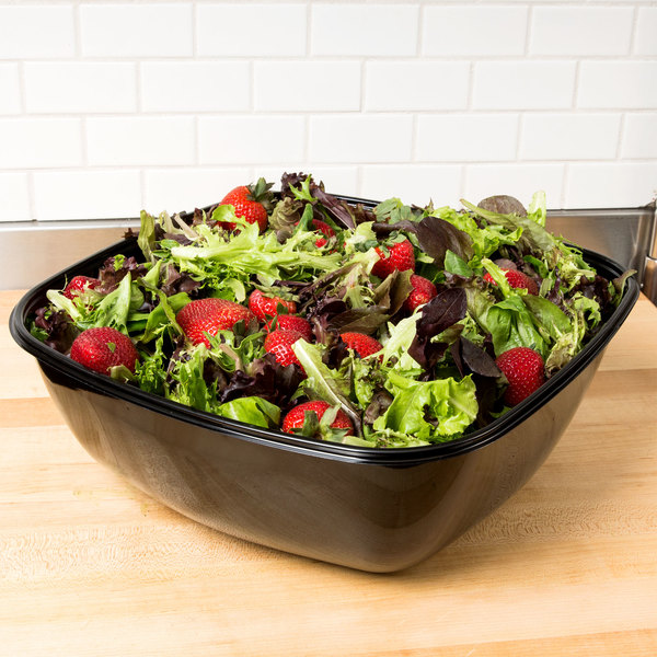 Sabert 94320 Bowl2 320 oz. Black Square Catering Bowl - 25/Case