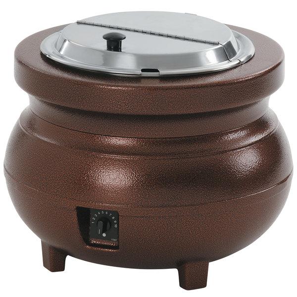 Vollrath 72166 Colonial 11 Qt. Antique Copper Kettle Soup Warmer / Merchandiser - 120V, 700W