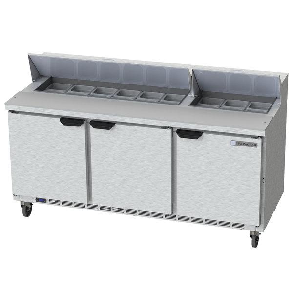 """Beverage-Air SPE72HC-18 Elite Series 72"""" 3 Door Refrigerated Sandwich Prep Table"""