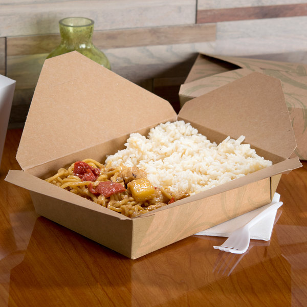 """Bio-Plus-Earth 03BPSONOMM 8"""" x 6"""" x 2 1/2"""" Sonoma Microwavable Paper #3 Take-Out Container - 50/Pack Main Image 3"""