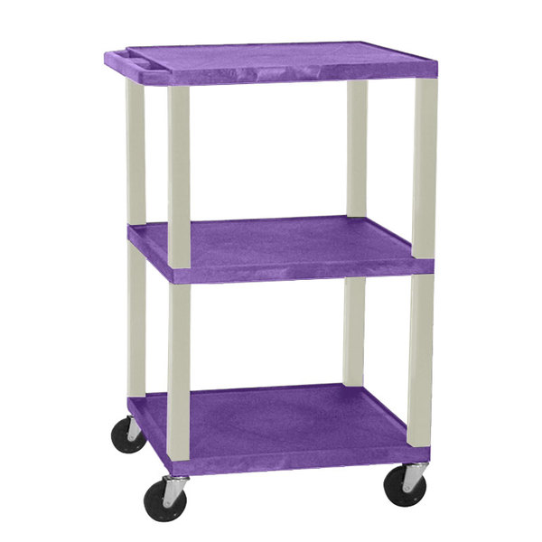 "Luxor WT1642PE Purple Tuffy Open Shelf A/V Cart 18"" x 24"" with 3 Shelves - Adjustable Height Main Image 1"