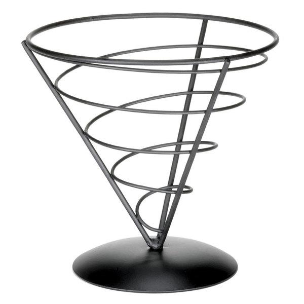 "Tablecraft AC77 Vertigo Round Appetizer Wire Cone Basket - 7"" x 7"""