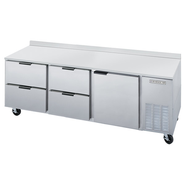 "Beverage-Air WTRD93A-4 93"" Compact Worktop Refrigerator - 1 Door / 4 Drawers"