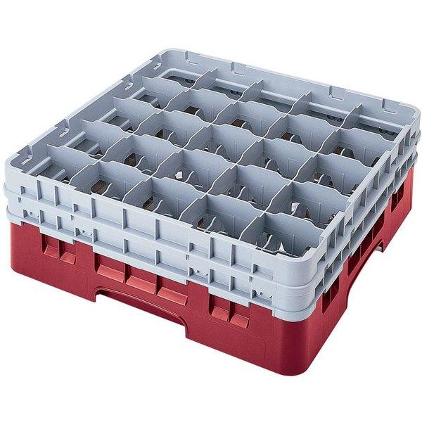 "Cambro 25S1114416 Camrack 11 3/4"" High Customizable Cranberry 25 Compartment Glass Rack"