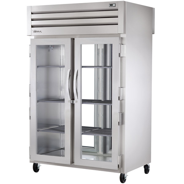 True STR2RPT-2G-2G Specification Series Two Section Pass-Through Refrigerator for Two Glass Front and Rear Doors