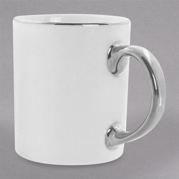 10 Strawberry Street SL0028 10 oz. Silver Line Porcelain C-Handle Mug - 24/Case