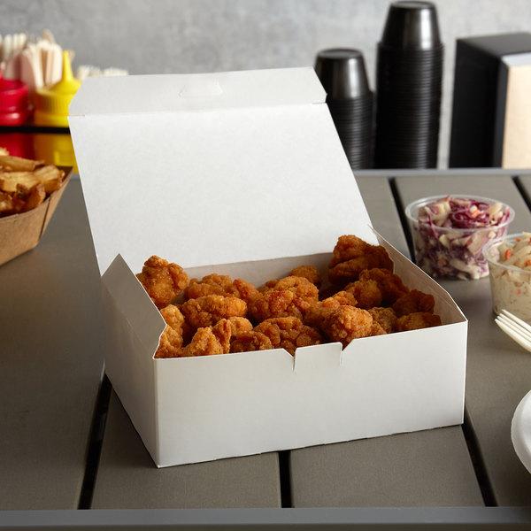 """9"""" x 5"""" x 3"""" White Take Out Lunch Box / Chicken Box - 250/Case"""