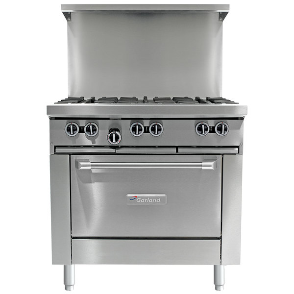 "Garland G36-4G12S Natural Gas 4 Burner 36"" Range with 12"" Griddle and Storage Base - 150,000 BTU"